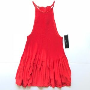 NWT Lulus Red Pleated High Neck Mock Tank Top